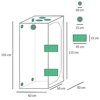 Outsunny Mylar Hydroponic Grow Tent with Adjustable Vents and Floor Tray for Indoor Plant Growing 90 x 60 x 135cm