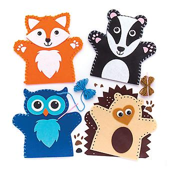 Baker ross woodland animal hand puppet sewing kits (pack of 4) for kids arts and crafts 4 pack