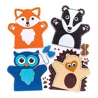 Baker ross bos dierlijke handpop naaisets (pak van 4) voor kinderen kunst en ambachten 4 pack