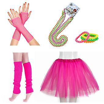 Innobase 80s fancy dress neon adulte tutu, jambières, gants roses résille, colliers de perles fluorescentes