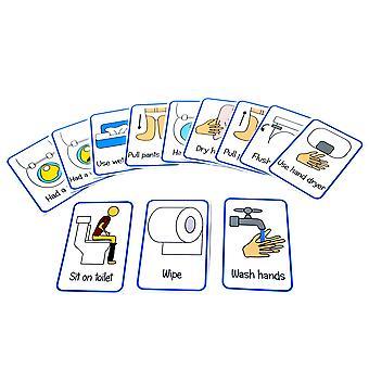 Kids2learn WC školení rutinní flash karty - vizuální pomoc připomenutí pro použití wc speciální ne