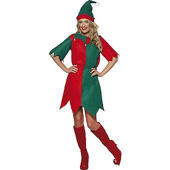 Smiffys Frauen's Elfenkostüm, Hut und Tunika, bunt (rot/ grün), groß