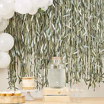 Botanisk Willow Leaf Bånd DIY Bakteppe 100m - Baby Shower