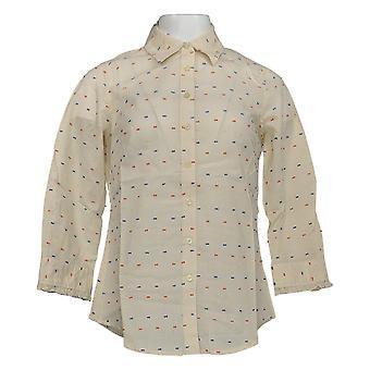 Liz Claiborne York Swiss Dot Shirt w/ Ivory A212412