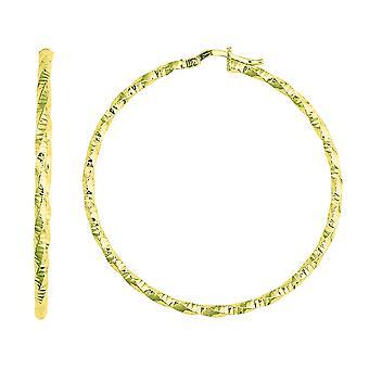 14K geel gouden glanzend Diamond Cut Hoop Earrings, Diameter 45mm