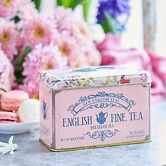 Floral tea tin with 40 english breakfast teabags