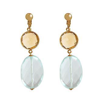 Gemshine oreille clips Citrin et aquamarine pierres de quartz. Argent, plaqué or, rose