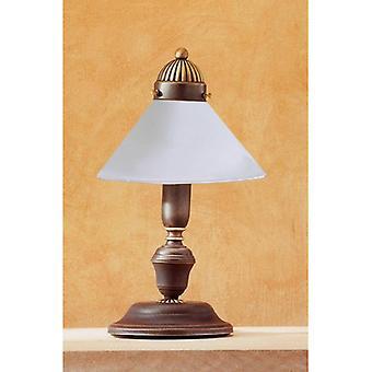 Lámpara De Mesa De Vidrio Antiguo De Latón 1 Luz Nonna