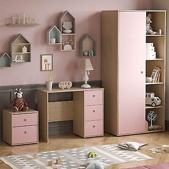 Neptune 3 Piece Bedroom Furniture Set Desk, Bedside Table, Wardrobe Two-tone, Pink & Oak