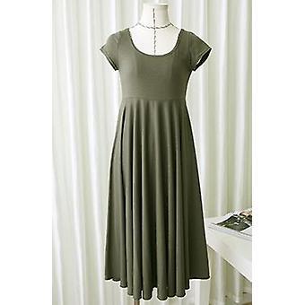 Summer Short-sleeve Maternity Dress (green L)