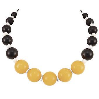 evig samling sassy gul og svart fjell jade uttalelse beaded halskjede