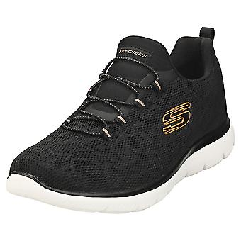 Skechers Summits Leopard Spot Womens Fashion Trainer in Black Rose Gold