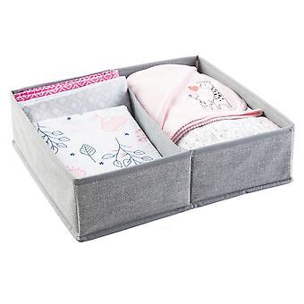 mDesign Fabric Dresser Drawer/Closet Storage, 2 Section Tray - Textured Gray