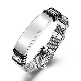 Engrave Logo Id Bracelets, Net Band Trendy Stainless Steal Bracelet