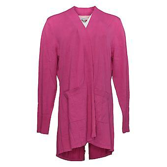 Isaac Mizrahi Live! Women's Sweater (XXS) Cardigan Hi-Low Pink A392229