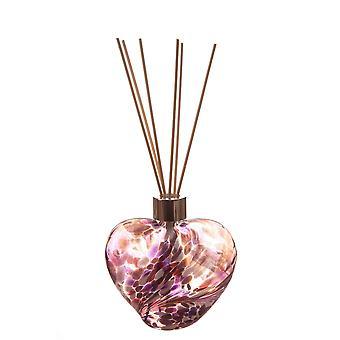 Hjärtformad vassspridare violett och rosa av Amelia Art Glass