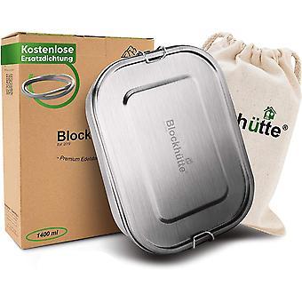 Blockhtte Premium Edelstahl Brotdose [1400ml] GRATIS Austauschdichtung &Trennwand - Die verbesserte