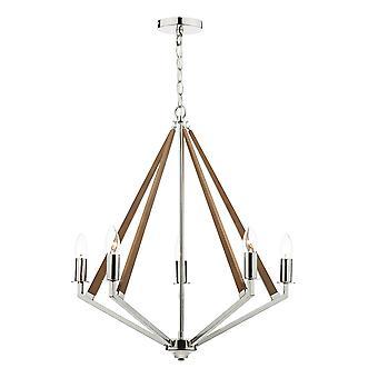 DAR HOTEL Draht Rahmen Anhänger Licht poliert Nickel Holz, 5x E14