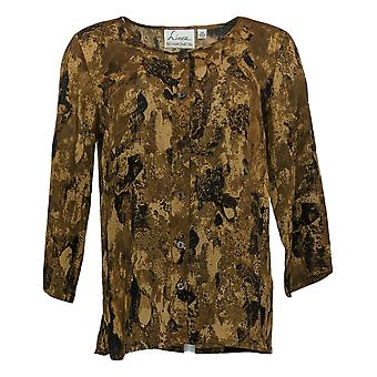 Linea by Louis Dell'Olio Women's Top Camo Print Blouse Brown A351472