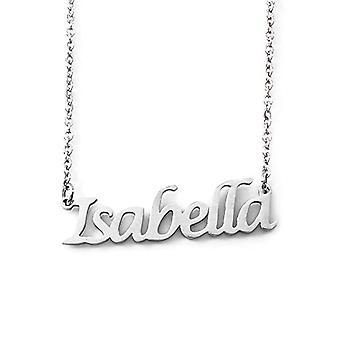 Kigu Isabella - Halsband med anpassat namn, silverfärg, justerbar kedja 40,6 cm - 48,3 cm