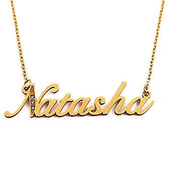 Kigu Natasha - Anpassningsbart namngivet halsband med guldpläterade zirkoner