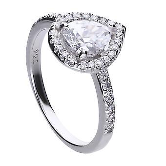 Diamonfire Womens 925 Sterling Silver Rhodium, Palladium & Platinum Plated Clear Cubic Zirconia Teardrop Stone med Pave Set Surround Ring