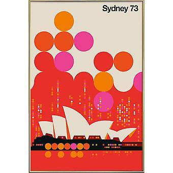 JUNIQE Print - Sydney 73 Rød - Retro & Vintage Plakat i Orange & Rot