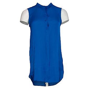 Vince Camuto Women's Top (XXS) Rumple Henley Button Front Tunic Blue A365169