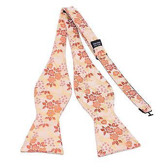 Orange & red floral bow tie & pocket square set