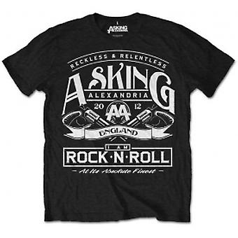 Asking Alexandria RocknRoll Mens Black T Shirt: Medium