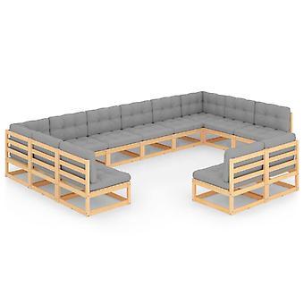 vidaXL 12 pcs. Garden Lounge Set with Cushion Pine Solid Wood