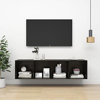 vidaXL armoire de tv-noir brillant 37x37x142,5 cm plaque de particules