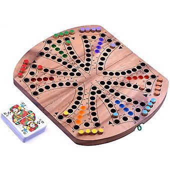 Tock für 4 oder 6 Spieler - Gesellschaftsspiel mit Spielkarten - Brettspiel aus Holz mit