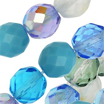 Czech Fire Polished Glass Beads, Faceted Round 10mm, 50 Pieces, Serenity Mix