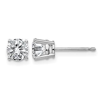 0.88 Carat (ctw) Synthetic Moissanite Solitaire Earrings 5.0mm in 14K White Gold (1 Carat Diamond Look)