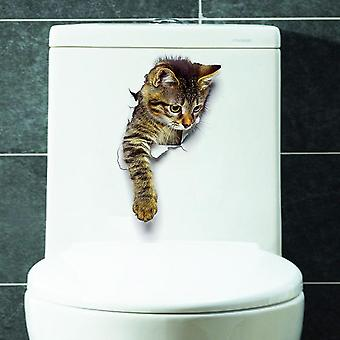 Cute 3d Cat Wall Sticker Bathroom Toilet Living Room Home Decor Decal Background Pvc Wall Stickers