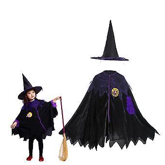 Capa preta de fantasia de bruxa de Halloween com chapéu de mago crianças black devil vestido mascarado festa de máscara