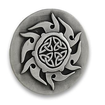 Pewter Finish Celtic Knotwork Sunburst Belt Buckle