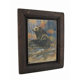Big Sky Carvers Grizzly Bear Settling Down Wood Frame Wall Art