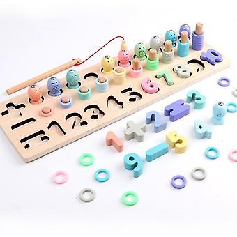 Předškolní vzdělávání Puzzle Macaron Číslo Operace Rybářské hry Hračky