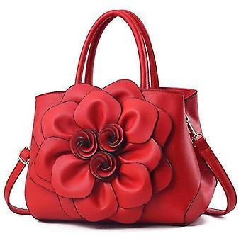 Új női kézitáska PU bőr nagy kapacitású válltáska Fashion Classic Casual Messenger táska (piros)