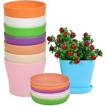 Indoor outdoor plants 8pcs plastic flower pot with saucer  inner and exterior flower pot