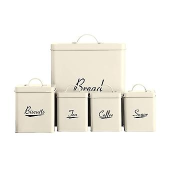 5pc Enamel Storage Set Cream
