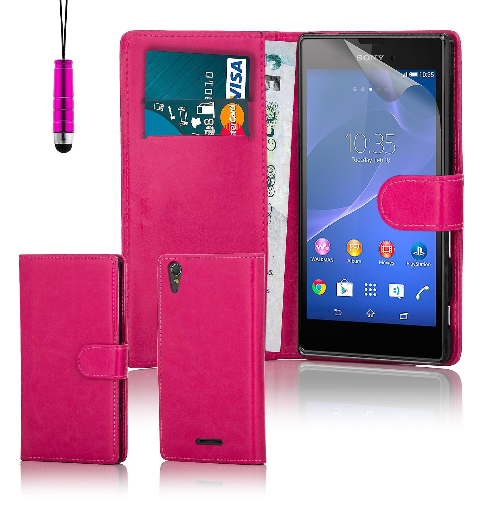 Book wallet PU leather case cover for Sony Xperia T3 + stylus - Hot Pink