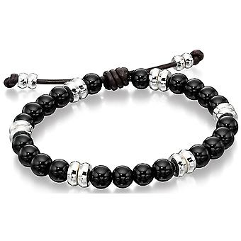 925 Silver Onyx And Leather Bracelet