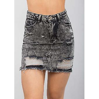 Extreme Riss Mini figurbetonten Jeans Rock Grau