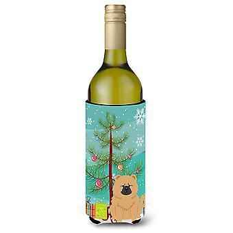Merry Christmas Tree Chow Chow Cream Wine Bottle Beverge Insulator Hugger