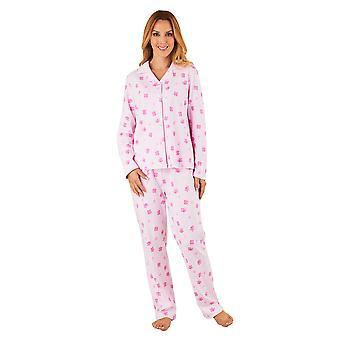 Slenderella PJ8113 kvinners rosa blomster bomull pyjamas langermet Pyjama sett