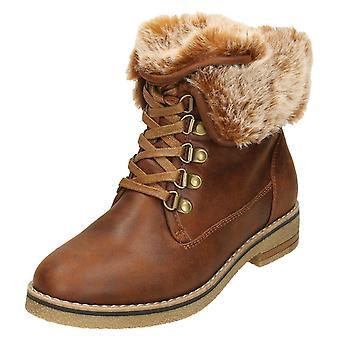 Dames tot aarde bont kraag Ankle Boots F50865