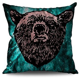 Faccia rossa orso selvaggio lino cuscino 30 x 30 cm | Wellcoda